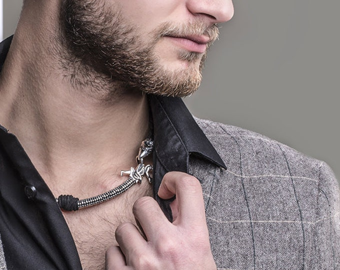 Gannicus Celtic Dragon Champion Gladiator Necklace, Spartacus Jewelry Replicas, Silver Dragon and Crow Necklace