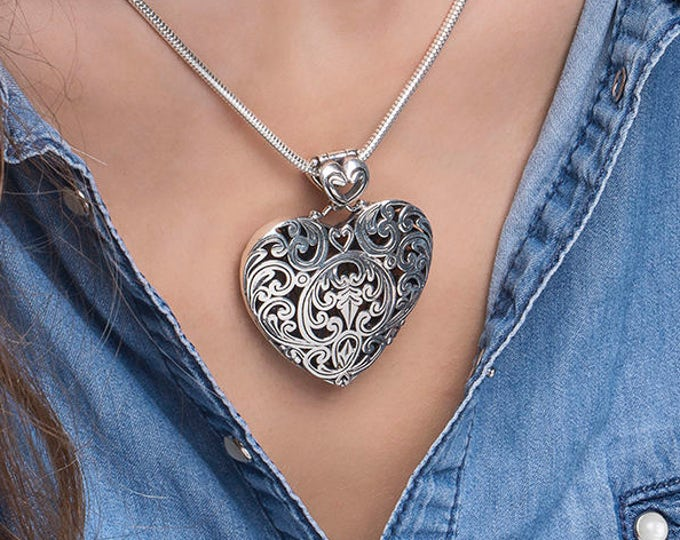 Silver Heart  Pendant Ornamental Sterling Silver Heart Shaped Floral Motive