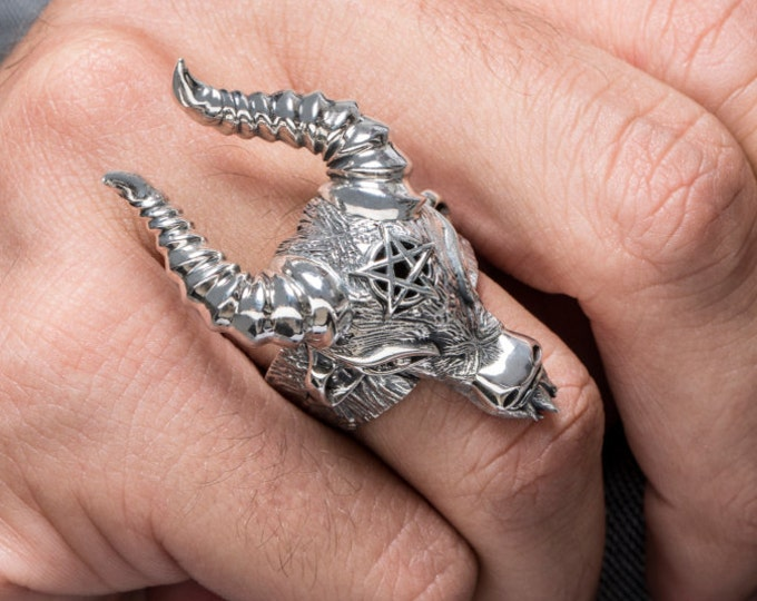 Baphomet Horned Goat Ram Silver Ring, Silver Occult Baphomet Sheep Biker Ring, SABBATIC GOAT Ring, Templar Knight ring