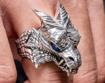 "House of Targaryen Ring, ""Game of Thrones "" inspired ""Houses of Westeros"" by Silver lab, Dragon Gemstones Ring"