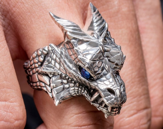 "Dragon Head ring inspired by ""Houses of Westeros"" by Silver lab, Dragon Gemstones Ring"