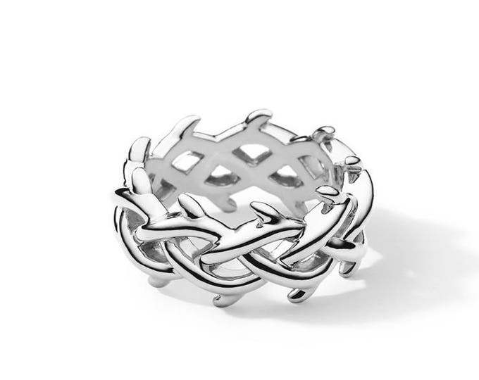 Thorn crown ring, crown of thorn sterling silver ring, silver thorns ring