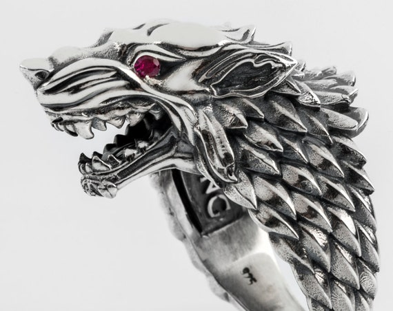 "House of Stark Ring. ""Game of Thrones "" inspired ""HOUSES OF WESTEROS"" Collection by Silver lab,  Direwolf Animal Ring With Gemstones"