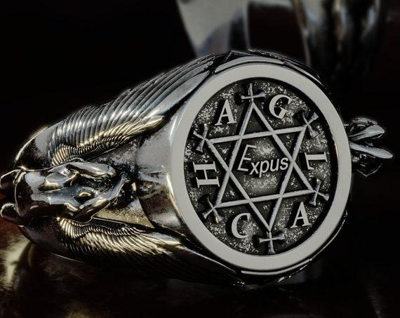 King Solomon ring, King Solomon pentacle ring, Angel talisman occult ring, Solomon talisman Kabbalah ring