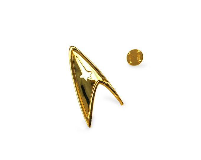 Star Trek Insignia, Sterling Silver 925 and 14K Gold Plated Star Trek Starfleet Command Division Badge / Pendant.