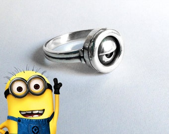 Minion Ring in sterling silver, Despicable Me inspired ring!