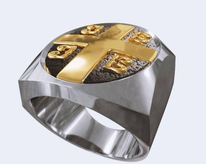 Imperial Cross Byzantine Paleologos Emblem Ring, Emperor ring, Orthodox Ring