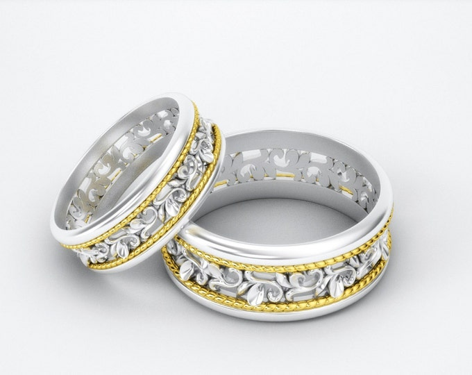 Pair of solid 14K Gold Wedding Bands, Engagement Carved Paisley Two Colors 14K Gold & White gold rings, Promise 14K Gold Bands