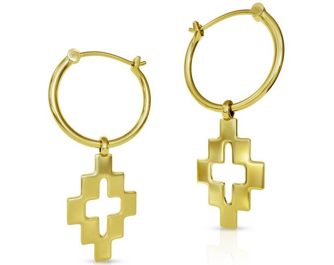 Golden Cross Hoop Earrings 14K