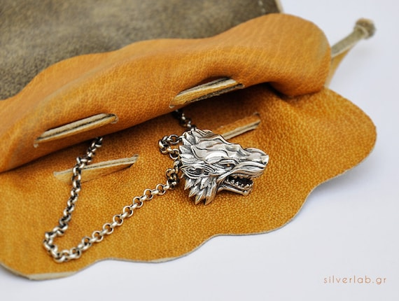 Wolf Head Silver Necklace, Werewolf Animal Necklace