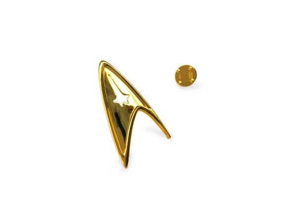 Star Trek Insignia, Sterling Silver 925 and 14K Gold Plated Star Trek Starfleet Command Division Badge / Pendant.