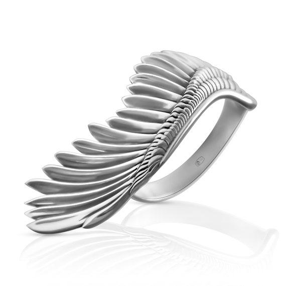Wings ring, angel wings dainty ring, minimalist open bird wings ring
