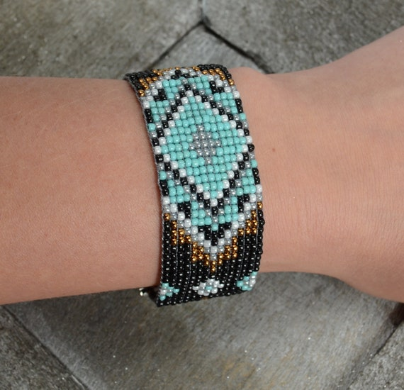 Southwest turquoise beaded bracelet, aztec boho bead weaving, bohemian jewelry, colors to choose