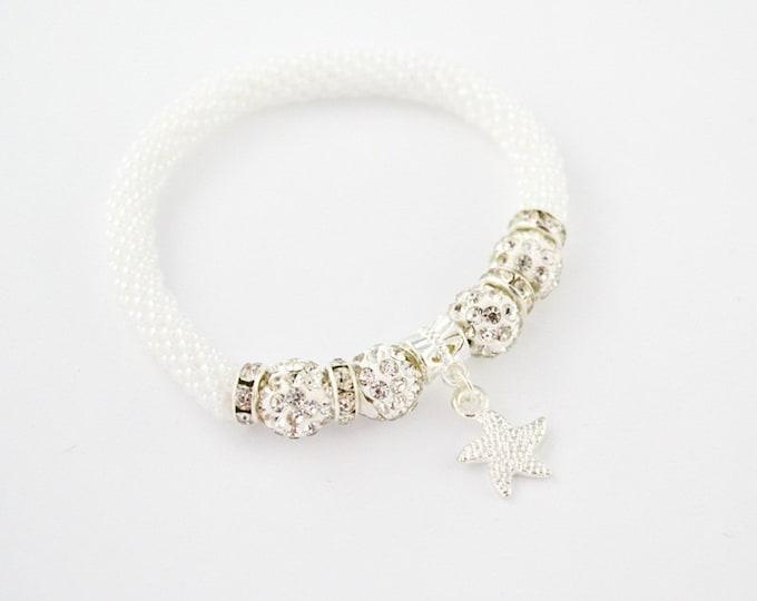 Starfish Bracelet bangle rubber beads Shamballa beads seed beads white crystal charms bracelet colour bracelet Valentine's Day friendship