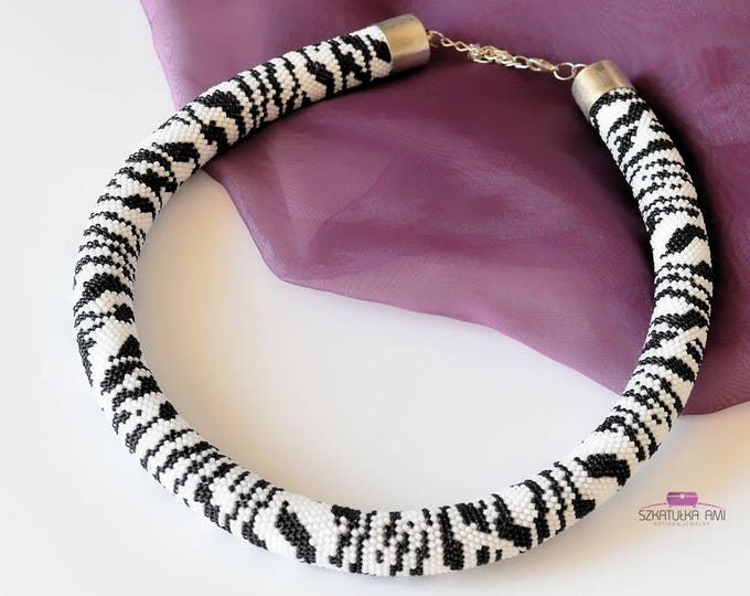 Zebra crochet bead necklace, black and white jewelry, animal print skin necklaces