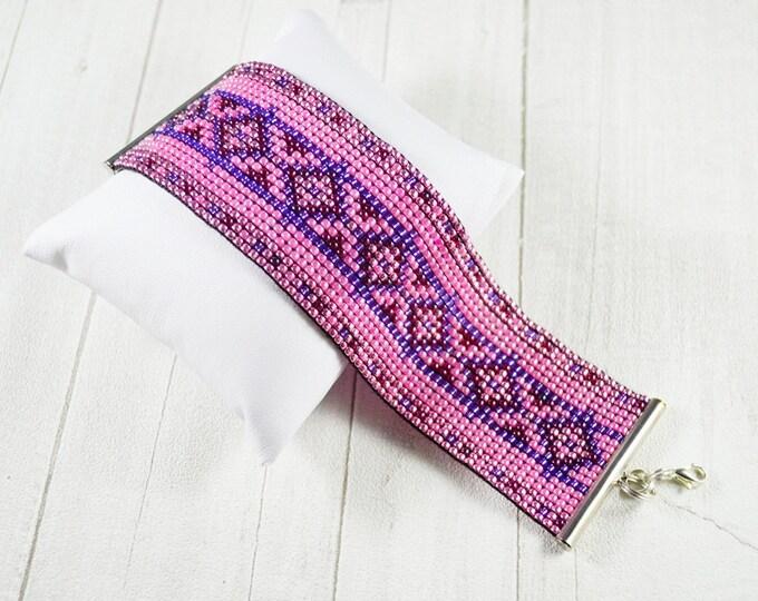Pink purple bracelet woven bracelet loom bracelet aztec pattern cuff bracelet friendship gift seed beads bracelet womens girls gift springs