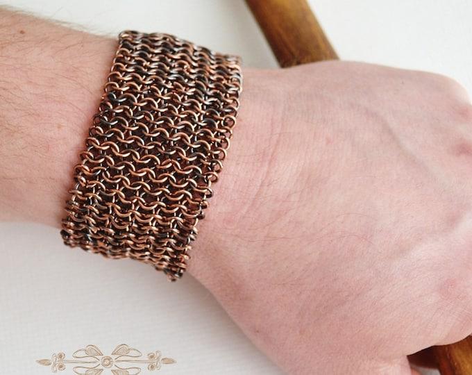 chainmaille bracelet, mens bracelet, copper bracelet, metal bracelet, mens jewelry, unisex bracelet, chainmail bracelet, chain bracelet,
