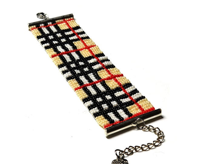 Plaid jewelry made to order, plaid woven beaded bracelet, loom tartan pattern, gift for sister and mother