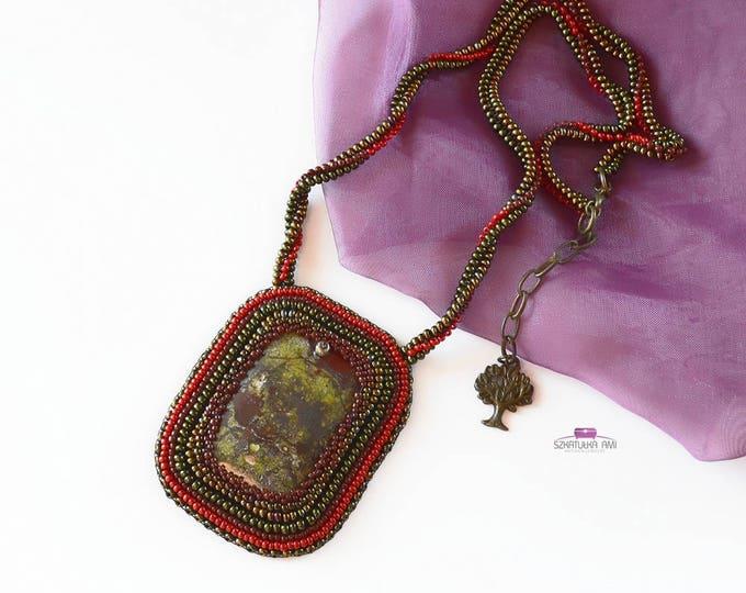 jasper necklace, big stone necklace, picture jasper, mystic necklace, goth necklace, statement necklace, stone jasper, beadwork necklace