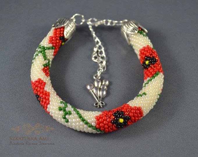 Poppies bracelet Flower bracelet Seed beads Crochet bracelet Tiny glass Friendship gift Girls Womens for her Cuff tube crochet beaded