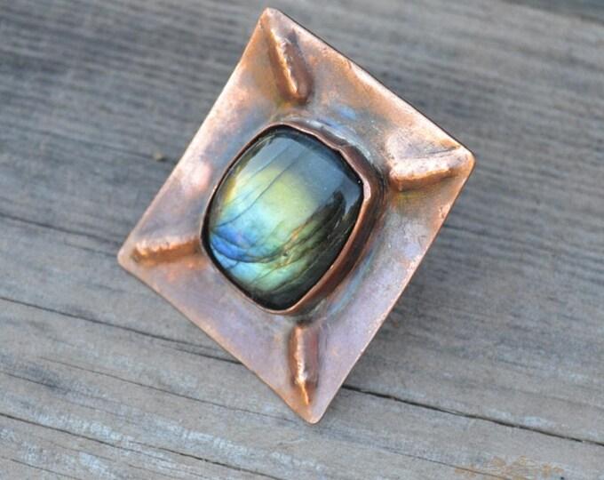 Square ring, labradorite ring, big large ring, copper ring, statement ring, metal ring, gemstone ring, labradorite jewelry, witchy ring