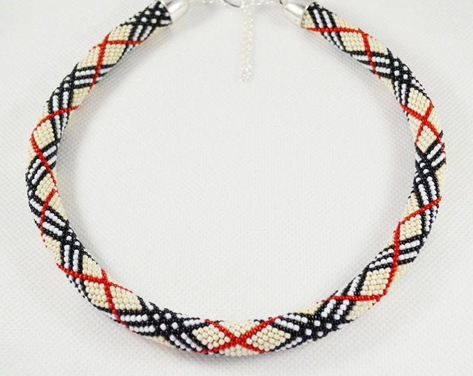 Scottish grid necklace crochet beaded, plaid print bead jewelry, a gift for a business woman,