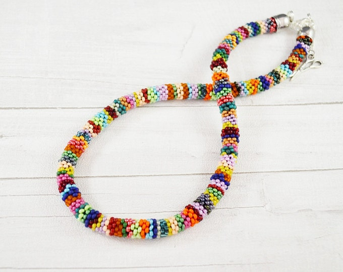 Colorful necklace beading Colored Statement Necklace Everyday Necklace Layering Necklace Boho Crochet necklace women Indian style