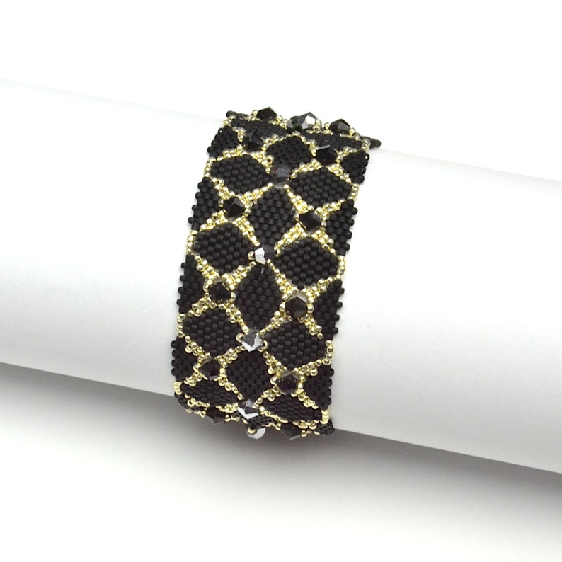 a gift for a woman Black and silver crystal bracelet woven beaded shiny and delicate hand cuff