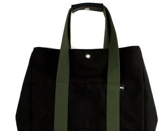 Sage Black Line Backsac Bag, Two-Way Shoulder Bag, Tote Bag or Backpack, Women's Bag
