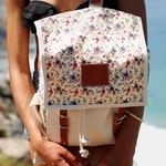 Ladybug Backpack, Canvas and Leather Print Backpack, Mediterranean Inspired, Sunny, Flower Printed Bag, Women's Backpack