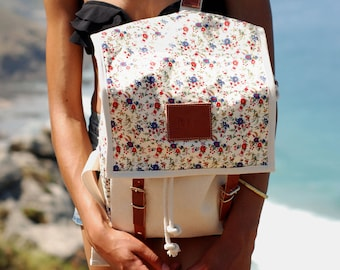 Ladybug Backpack, Canvas and Leather, Print Backpack, Mediterranean Inspired, Sunny, Flower Printed Bag, Women's Backpack
