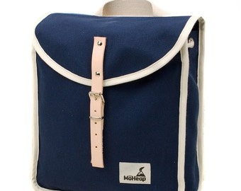 Blue Sea Heap Backpack, Retro, Vintage Inspired, Canvas and Leather Children's Backpack