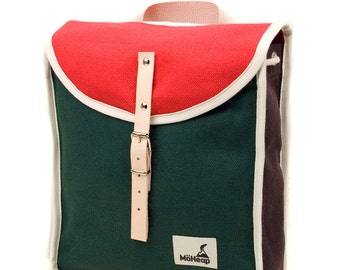 Toffee Trio Heap Backpack, Retro, Vintage Inspired, Canvas and Leather Children's Backpack