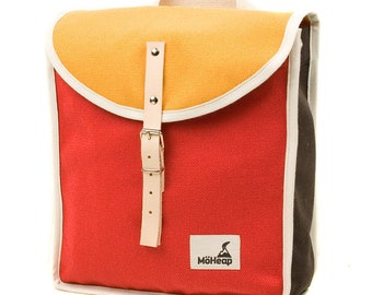 Ruby Trio Heap Backpack, Retro, Vintage Inspired, Canvas and Leather kids Bag - Kids Backpack