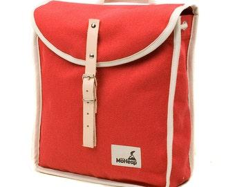 Red Starburst Heap Backpack, Retro, Vintage Inspired, Canvas and Leather kids Bag - Kids Backpack
