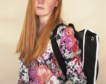 Black, White, Heap Line, Retro Climbers, Inspired, Canvas and Leather,  Backpack, Womens Bags