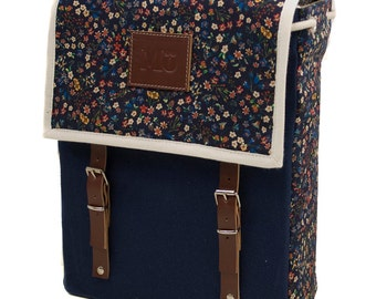 Viola Print Backpack, Canvas and Leather Backpack, Flowers Printed Fabric, Women's Backpack