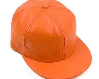 Orange Six Panel Leather Cap, 6 Panel Cap, Soft Nappa, Leather Cap, Women's Hat