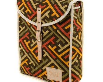 Graphic Op Heap Backpack, Retro, Vintage Inspired Canvas and Leather, Optical Art, Printed Fabric Bag, Women's Backpack