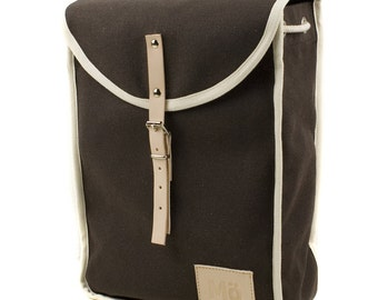 Brown Heap Backpack, Retro, Vintage Inspired Canvas and Leather Brown Bag, Women's Backpack