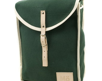 Green Heap Backpack, Retro, Vintage inspired, Green Canvas and Leather, Women's Backpack