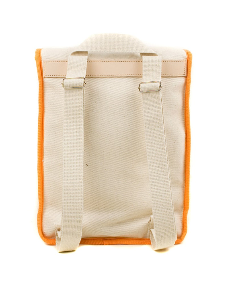 Backpack Women/'s Backpack Canvas and Leather Bag Retro Heap Line Vintage Inspired White Orange