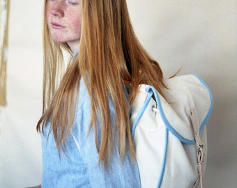 White, Blue Heap Line, Backpack, Retro, Vintage Inspired, Canvas and Leather Bag, Women's Backpack