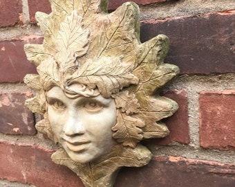 oak woman, green woman, oak girl, green girl, cast cement, garascia art, garascia, wallhanging, girl face, garden art, garden decoration,