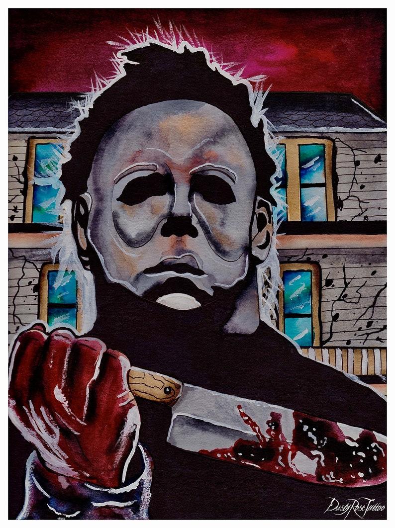 fb6670b07329 Michael Myers original art print Halloween 2018 Horror art