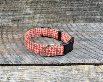 Orange and White Houndstooth Dog Collar