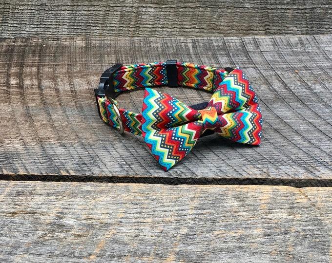 Colored Chevron Bow Tie