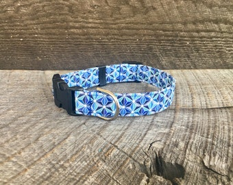 Faceted Geo Blue Dog Collar