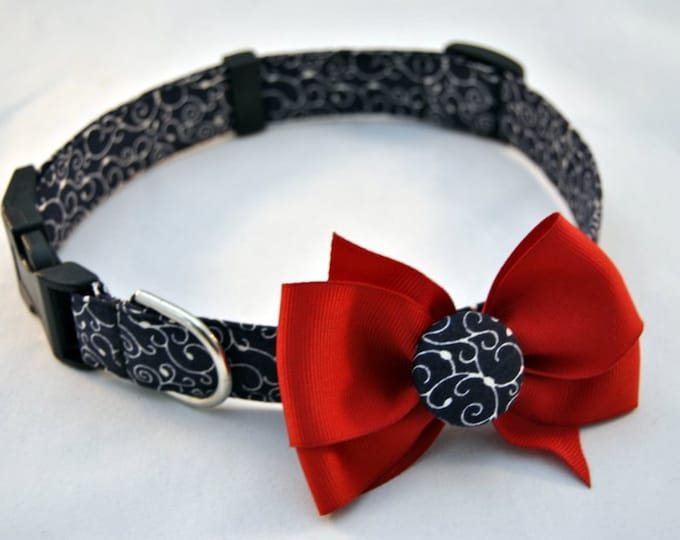 Navy Swirl Collar with Bow