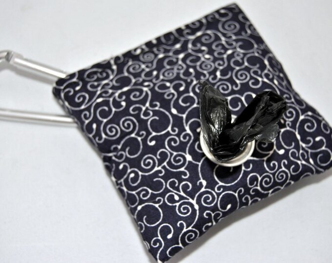 Navy Swirl Poop Bag Pouch